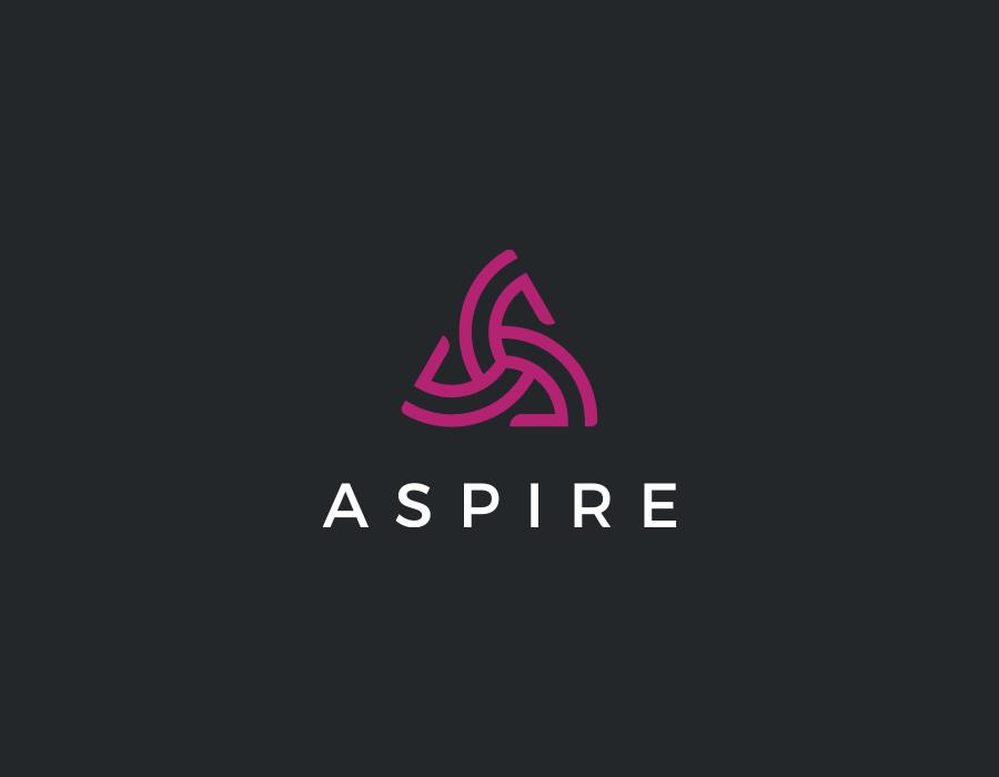 ASPIRE corporate logo design on dark background