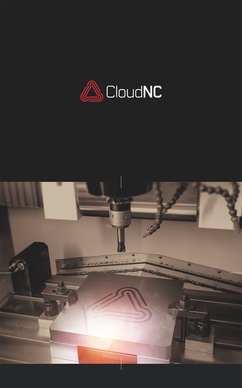 CloudNC industrial logo CNC milling mockup