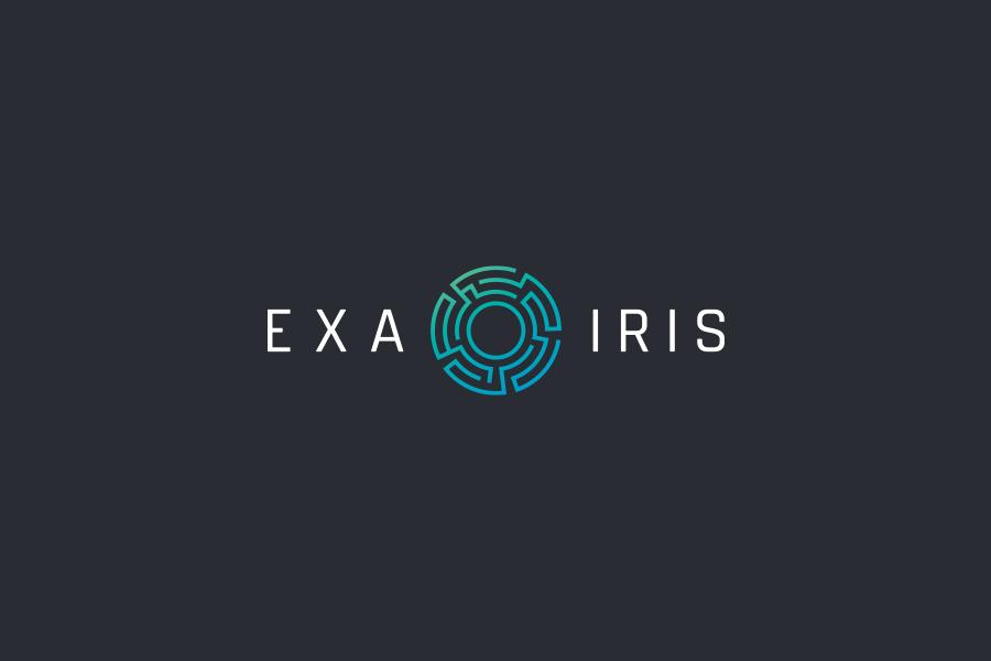 Exa Iris industrial tech logo design machine vision autopilot