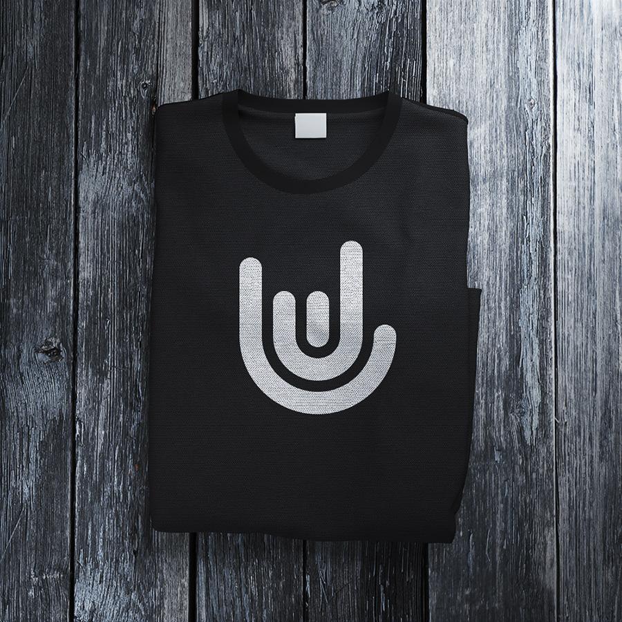 JDL logo design on black t-shirt mockup