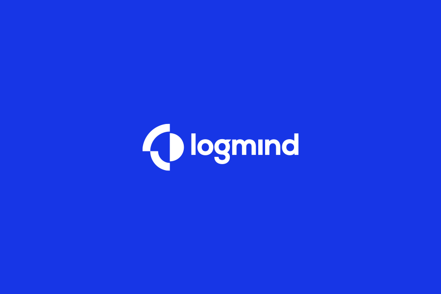 Logmind abstract logo design on blue background