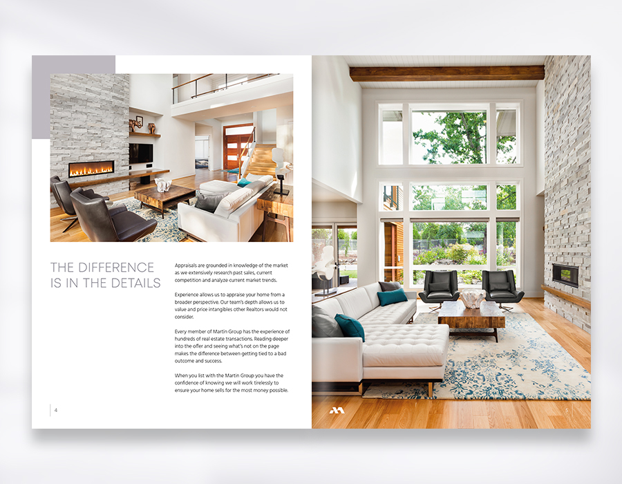 Martin Group realty corporate brochure pages mockup