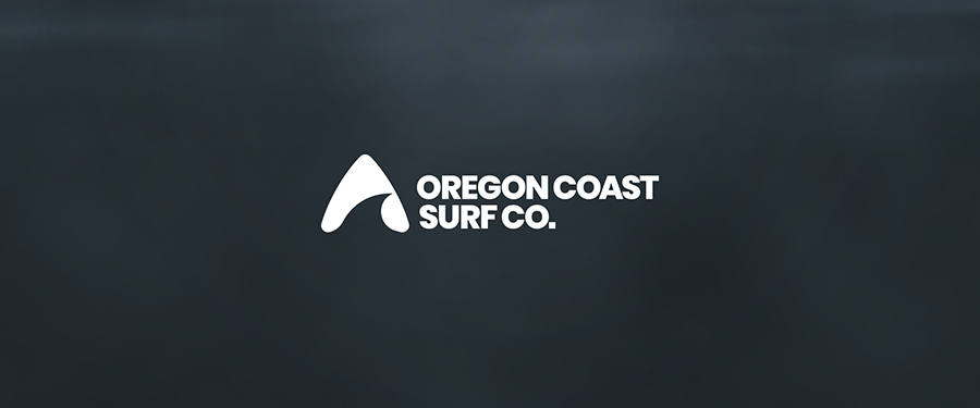 Oregon Coast Surf Co. logo design on dark background