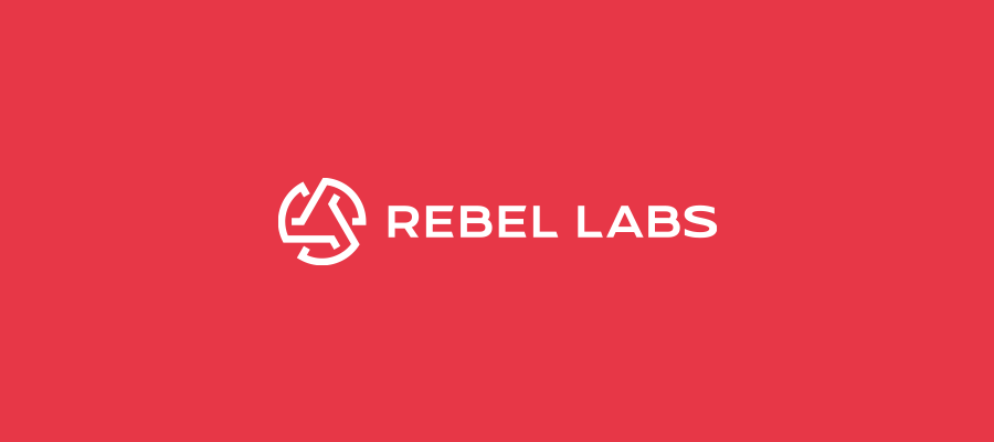 Rebel Labs logo design inline layout on red background
