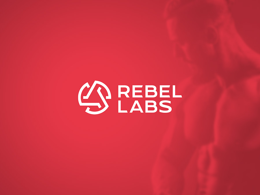 Rebel Labs logo design on red background
