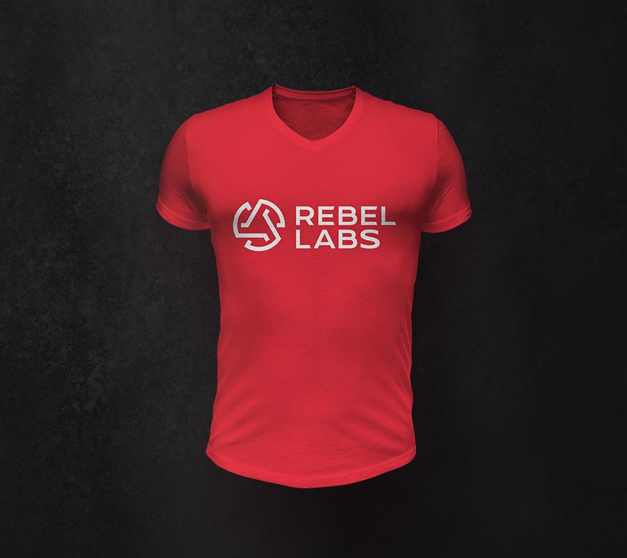 Rebel Labs logo design red t-shirt mockup