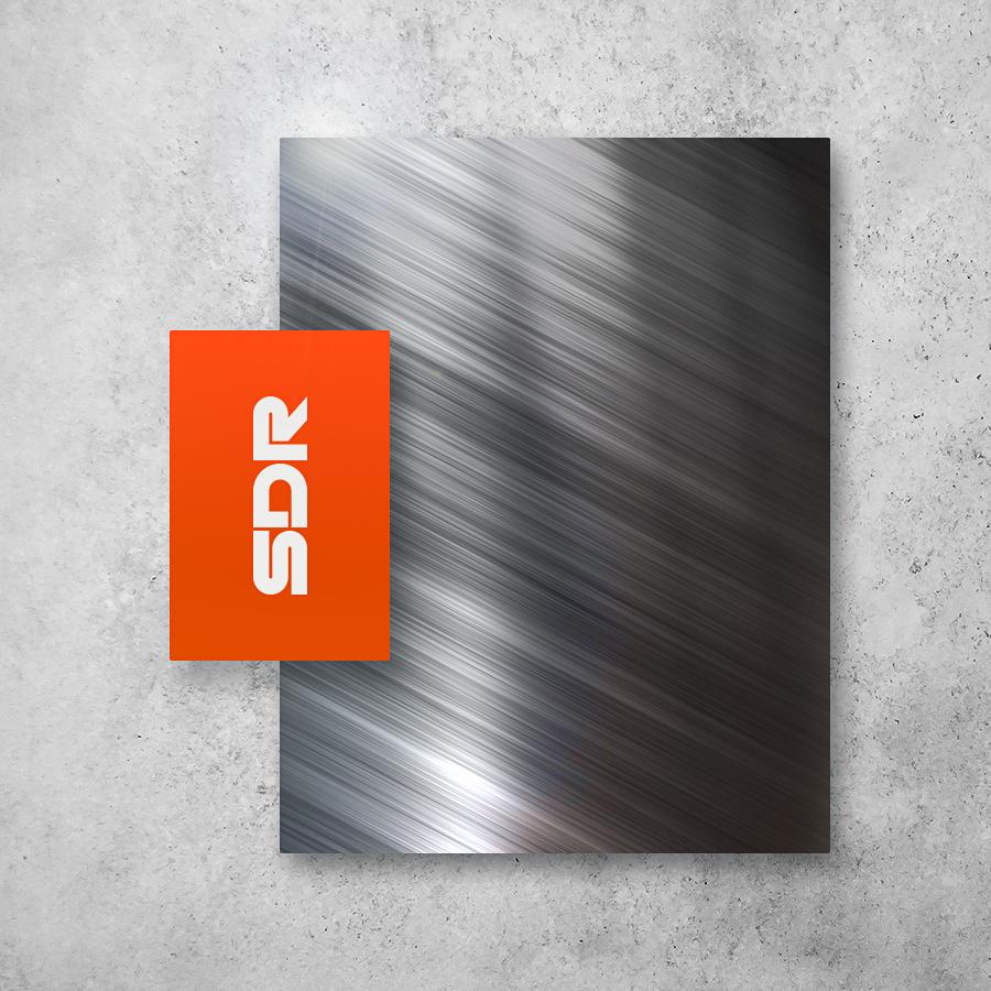 SDR industrial wordmark logo design mockup