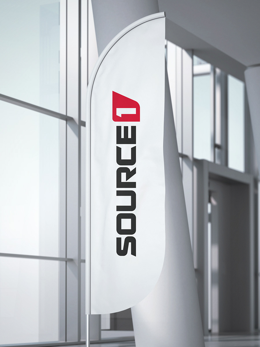 Source1 logo design corporate flag mockup