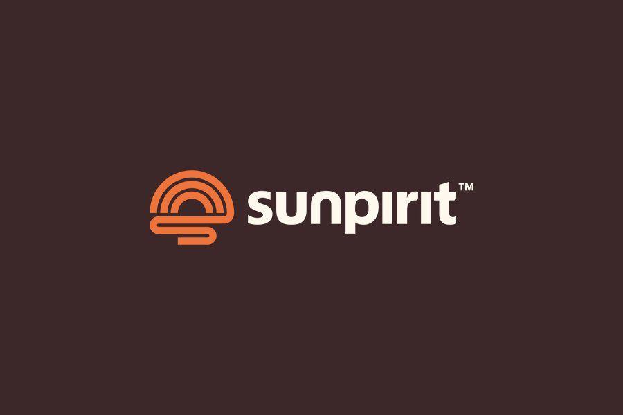 Sunpirit outdoor apparel logo design on dark background