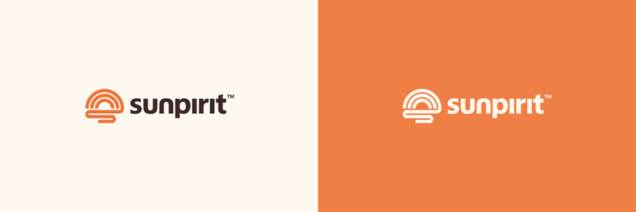 Sunpirit outdoor apparel logo design alternate color versions