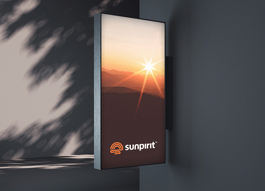 Sunpirit outdoor apparel logo design signage mockup