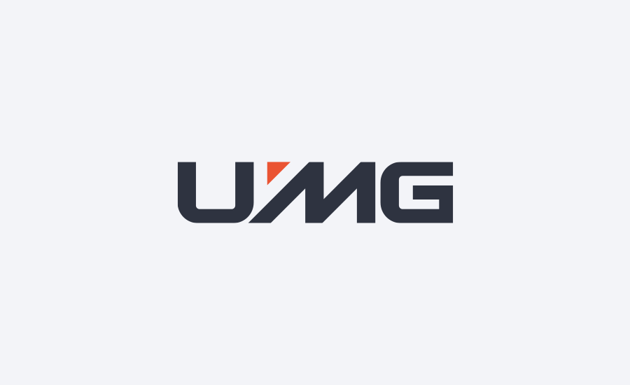 UMG corporate wordmark logo design on light background