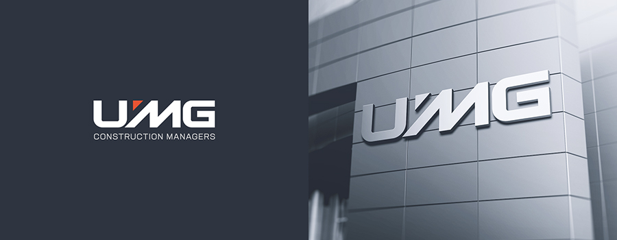 UMG corporate wordmark logo design signage mockup