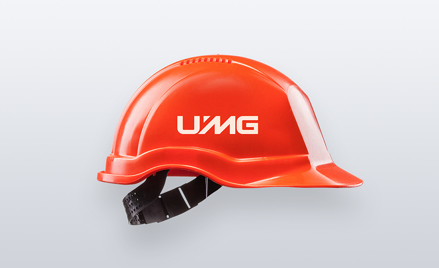 UMG corporate wordmark logo design hardhat mockup