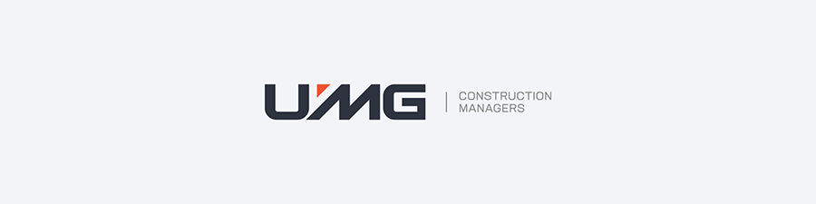 UMG corporate wordmark logo design inline layout